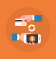 mobile payment icon hand holding smart phone and vector image