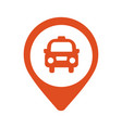 taxi icon map pin with taxi car sign vector image
