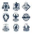 vintage boxing sports club labels and vector image