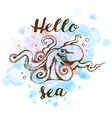 Blue watercolor texture and octopus vector image