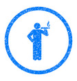 smoking person rounded grainy icon vector image