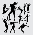 Aerobic dance silhouettes vector image vector image