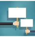 Hands holding blank protest boards vector image