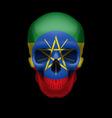 Ethiopian flag skull vector image
