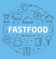 blue line flat circle fastfood vector image