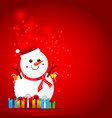 Christmas snow man on the red background vector image