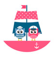 owls sailors on the boat vector image