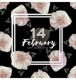 Peony Flowers Square frame 14 february Happy vector image