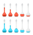Row of volumetric flasks with volume reduction vector image