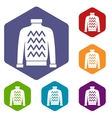 Men sweater icons set vector image