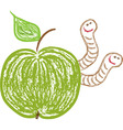 apple with worms vector image vector image