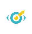 eye ball monitor arrow logo vector image