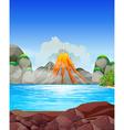 Volcano eruption at the lake vector image vector image