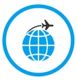 International Flight Circled Icon vector image