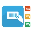Barcode label with human hand icon set vector image