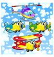 Cartoon airplanes and helicopter in the sky vector image