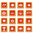 explosion icons set red vector image