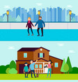 Healthy family horizontal banners vector image