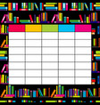 school timetable template with books for students vector image