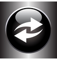 Two arrows icon on black glass button vector image