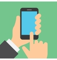Finger clicks on cell phone display with touch vector image vector image