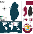 Qatar map world vector image vector image