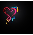 Shining heart in the dark vector image vector image