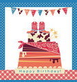 Cowboy party with big cake and cowboy shoes on vector image