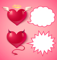 devil ans angel hearts comics vector image