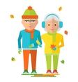 elderly couple on autumn walk vector image