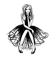 Fashion of sitting woman vector image