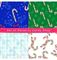 Seamless patterns with candy cane vector image