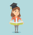 young caucasian graduate holding a book in hands vector image
