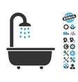 Bath Shower Icon With Tools Bonus vector image