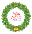 Christmas Pine Leaves Decoration Wreath vector image