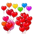 Big set of bright and colorful heart shaped vector image