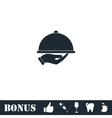 Restaurant cloche in hand icon flat vector image