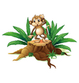 A playful young monkey above a wood vector image vector image