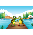 Two turtles standing at the diving board vector image vector image