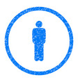 standing person pose rounded grainy icon vector image