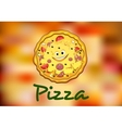 Full round cartoon pizza vector image vector image