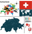 Switzerland map with regions and flags vector image