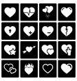 black hearts icon set vector image vector image