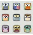 App icons set of owls vector image
