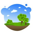 cartoon landscape with trees vector image