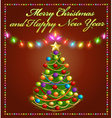 Christmas tree with glowing festive garlands vector image