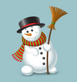 cute christmas snowman isolated on blue background vector image