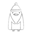 cute penguin with christmas hat vector image