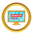 Donate online concept icon vector image