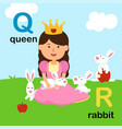alphabet letter q-queen r-rabbit vector image